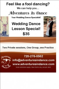 Adult dance classes for wedding first dance ballroom lesson special at Advenutures in Dance