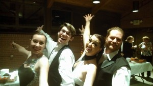 Robyn, Bill, Holly,Craig Ballroom dancers from Adventures in dance for Voices West