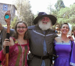 Medieval wedding guests wizard and ladies