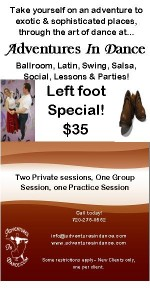 left foot adult dance class in ballroom, latin, swing tango, salsa dance lesson special