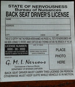 Backseat drivers licence