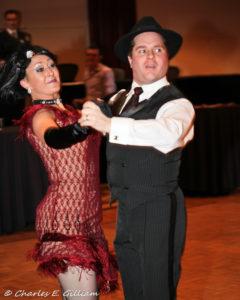 quickstep ballroom dancers