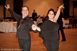 Latin Rumba ballroom dancers