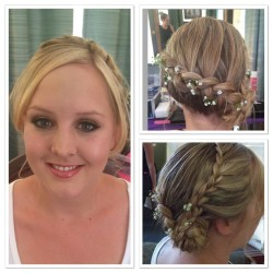 sara wedding braid and natural makeup