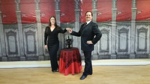 Morticia and Gomez Addams dance