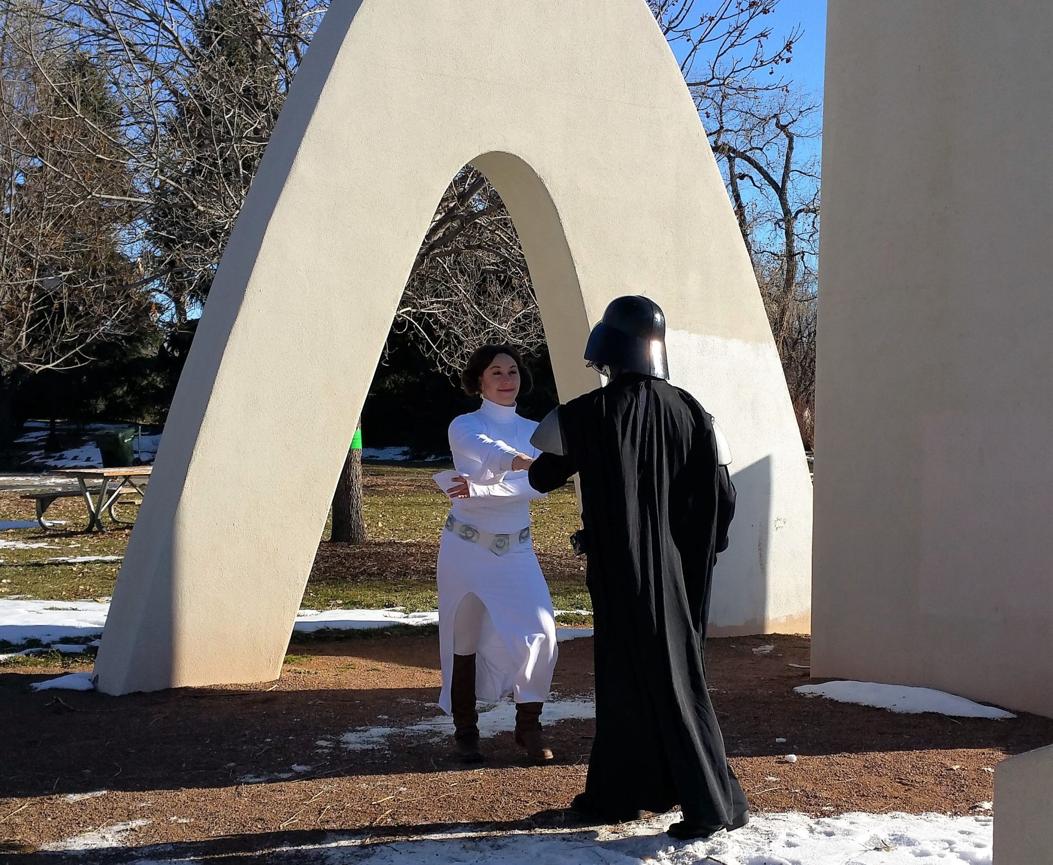 Darth Vader swing dancing with Leia