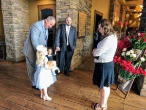 Mel greets guests