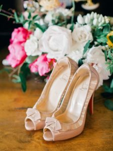 Wedding boquet and shoes
