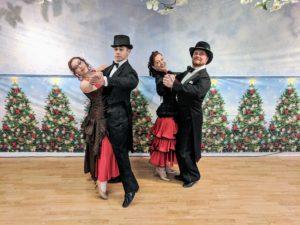 Ballroom dancers at victorian snow ball