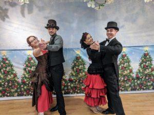 Dance position victorian snow ball