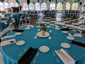Wonderland table and chessboard floor