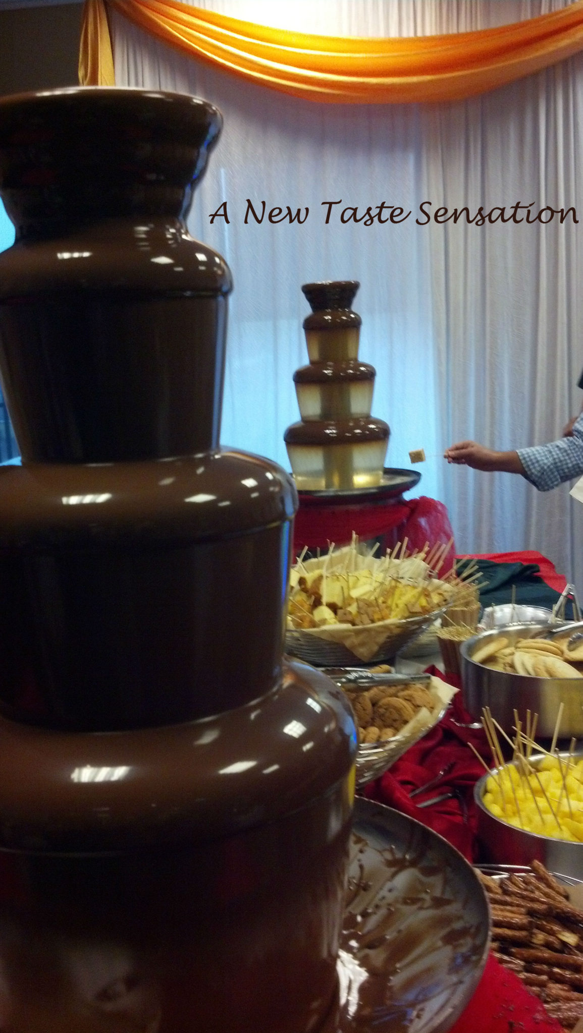 chocolate and caramel dipping fountain