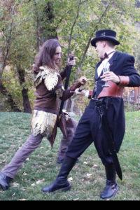 Steampunk groom duel best man