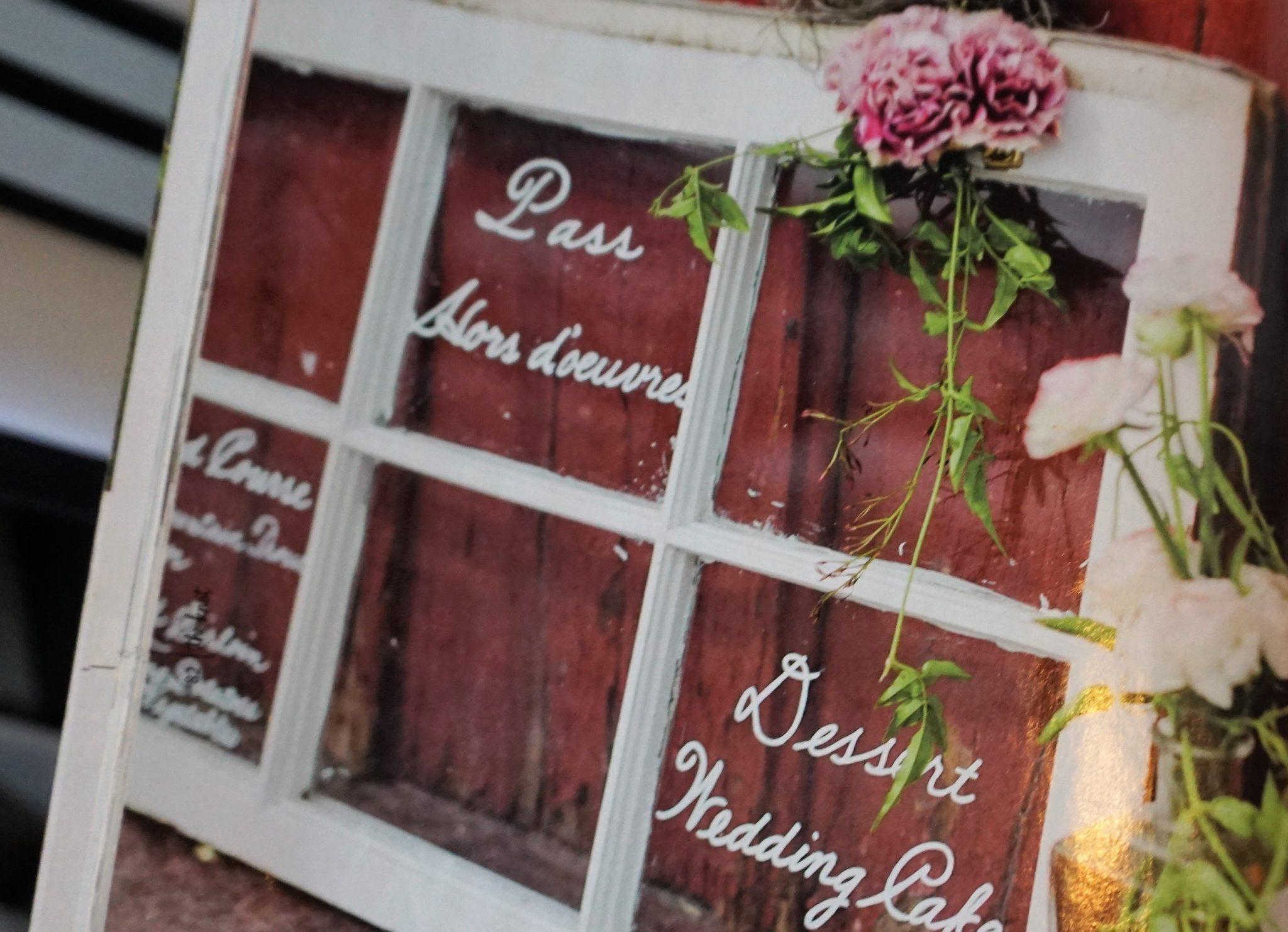 Handmade wedding sign on window