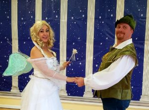Fairy Godmother hold hand with Leprechaun